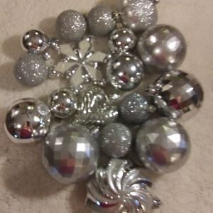 Lot of 18 Shatterproof Sliver Christmas Ornaments